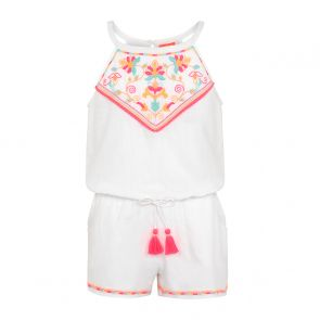 Teen Girl White Embroidered Playsuit