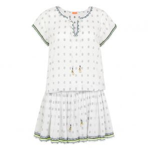 Womens White Embroidered Drop Waist Dress