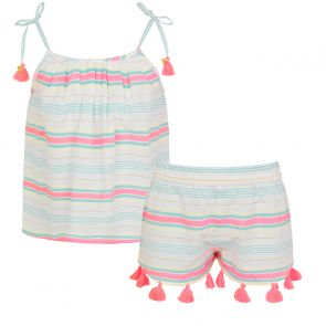 Girls Multi Stripe Strappy Short Set