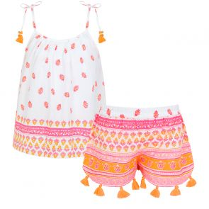 Girls White Neon Block Print Strappy Short Set