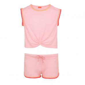 Teen Girl Neon Pink Pom Pom Trim Jersey Shorts Set