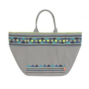Womens Light Grey Embellished Beach Bag