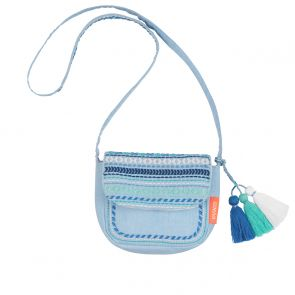 Girls Blue Embroidered Hippy Bag