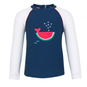 Baby Boys Navy Watermelon Whale Long Sleeve Rash Vest