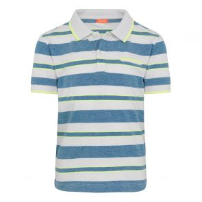 Boys Blue Stripe Pique Cotton Polo Shirt