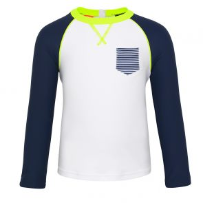 Baby Boys White Navy Long Sleeve Rash Vest