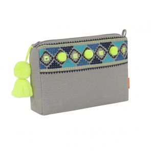 Girls Light Grey Diamond Detail Washbag