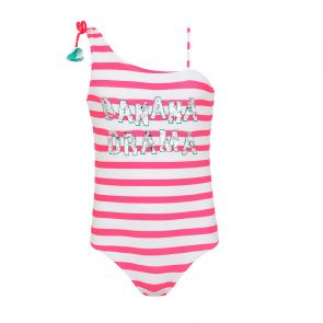 Teen Girls Pink Stripe & Sequin Banana Drama Swimsuit