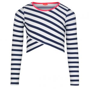 Teen Girls Blue Stripe long Sleeve Rash Vest