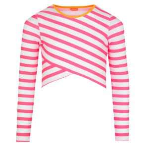 Teen Girls Pink Stripe Cropped Long Sleeve Rash Vest