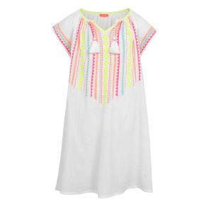 Girls White Embroidered Cheesecloth Dress