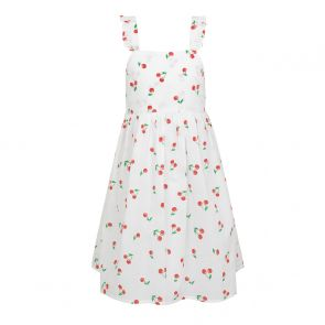 Girls White Cherries Pinafore Dress