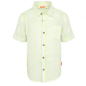 Boys Neon Yellow Stripe Short Sleeve Cotton Shirt