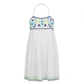 Girls White Mexicana Embroidered Beach Dress