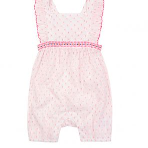 Baby Girls White Dotty Romper