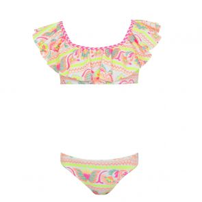 Girls White Neon Peruvian Stitch Off Shoulder Bikini