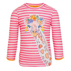 Girls Hot Pink Stripe Giraffe Long Sleeve Rash Vest