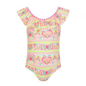 Girls White Neon Peruvian Stitch Off Shoulder Swimsuit