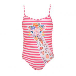 Girls Hot Pink Stripe Giraffe Strappy Swimsuit