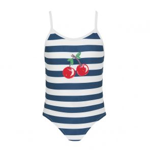 Girls Navy Stripe Cherries Swimsuit