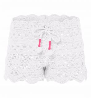 Girls White with Pink Crochet Shorts