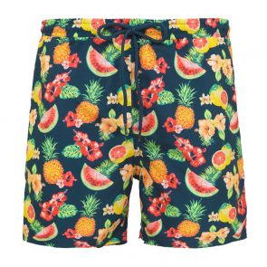 Mens Teal Aloha Fruit Swim Shorts