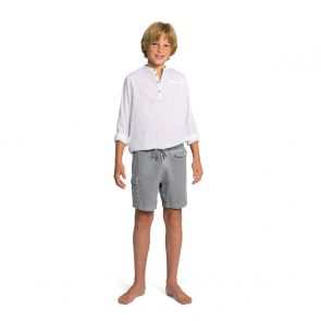 Boys White Nehru Collar Long Sleeve Cotton Shirt