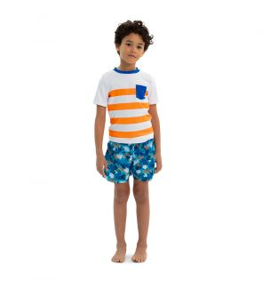Boys Orange Stripe Sleeve Rash Vest