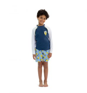 Boys Navy Sicilian Lemon Long Sleeve Rash Vest