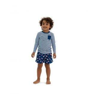 Boys Navy Stripe Long Sleeve Rash Vest