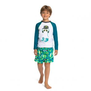 Boys White Longboard Long Sleeve Rash Vest