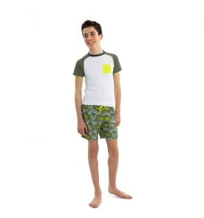 Boys White and Khaki Short Sleeve Rash Vest