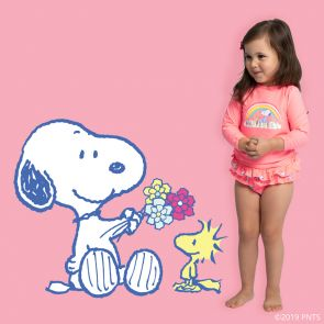 Baby Girls Pink Snoopy Long Sleeve Rash Vest