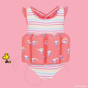 Girls Multi Stripe and Sherbet Pink Snoopy Float Suit