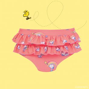 Baby Girls Sherbet Pink Snoopy Frill Nappy Pant