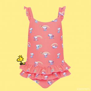 Baby Girls Sherbet Pink Snoopy Frill Swimsuit