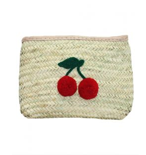 Cherry Straw Clutch Bag