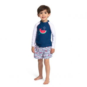 Baby Boys Navy Stripe Watermelon Whale Swim Shorts