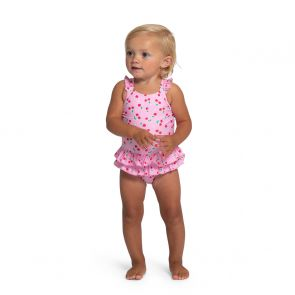 Baby Girls Pink Cherries Frill Swimsuit