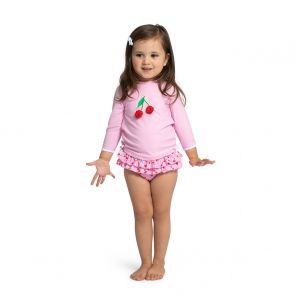 Baby Girls Pink Cherries Rash Vest