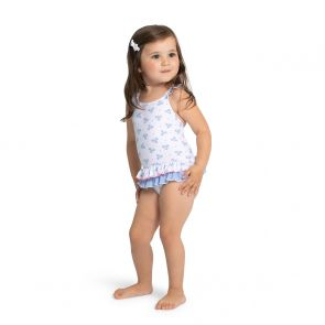 Baby Girls White Anchor Frill Swimsuit