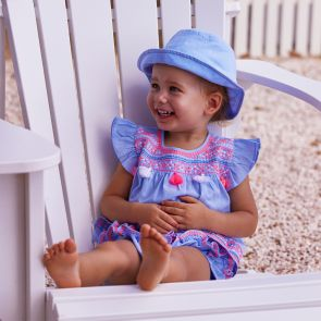 Baby Girls Blue Embroidered Sun Hat