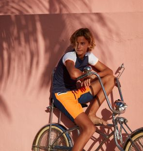 Boys Orange Contrast Board Shorts