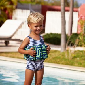 Boys Navy Stripe Crocodile Floatsuit