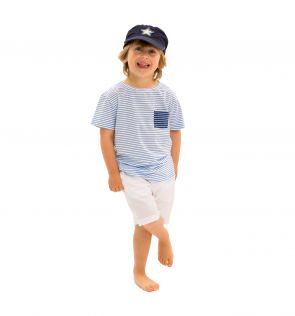 Boys Blue and White Striped T-Shirt