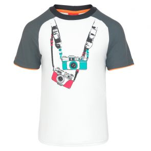 Boys White Vintage Camera Short Sleeve Rash Vest