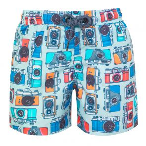 Boys Blue Vintage Camera Swim Shorts