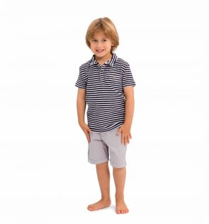Boys Navy and White Stripe Towelling Polo Shirt