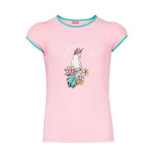 Girls Pink Cockatoo Short Sleeve Rash Vest