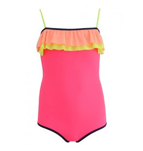 Girls Hot Pink Colour Block Double Frill Swimsuit